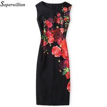 Soperwillton 2017 Vestido Nuevo Verano de Las Mujeres de Alta Calidad de Impresión del vendaje de bodycon oficina de trabajo de Negocios de Las Mujeres Viste # A764(China (Mainland))