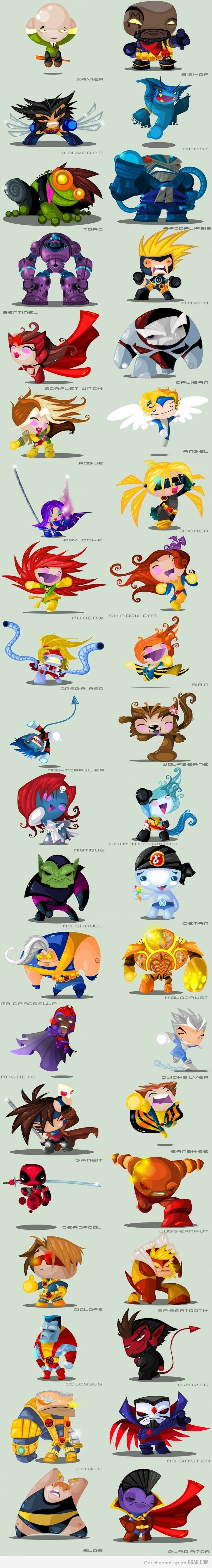 X-men - So cute! Even the Toad. But it's nice to see characters like Boomer and Wolfsbane!