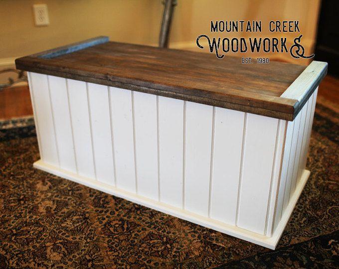 Pecho de juguete, caja de juguete, tronco de almacenamiento, tronco de madera, esperanza pecho, juguete de madera juguete blanco caja, cofre de madera bicolor, el pecho de Tucker