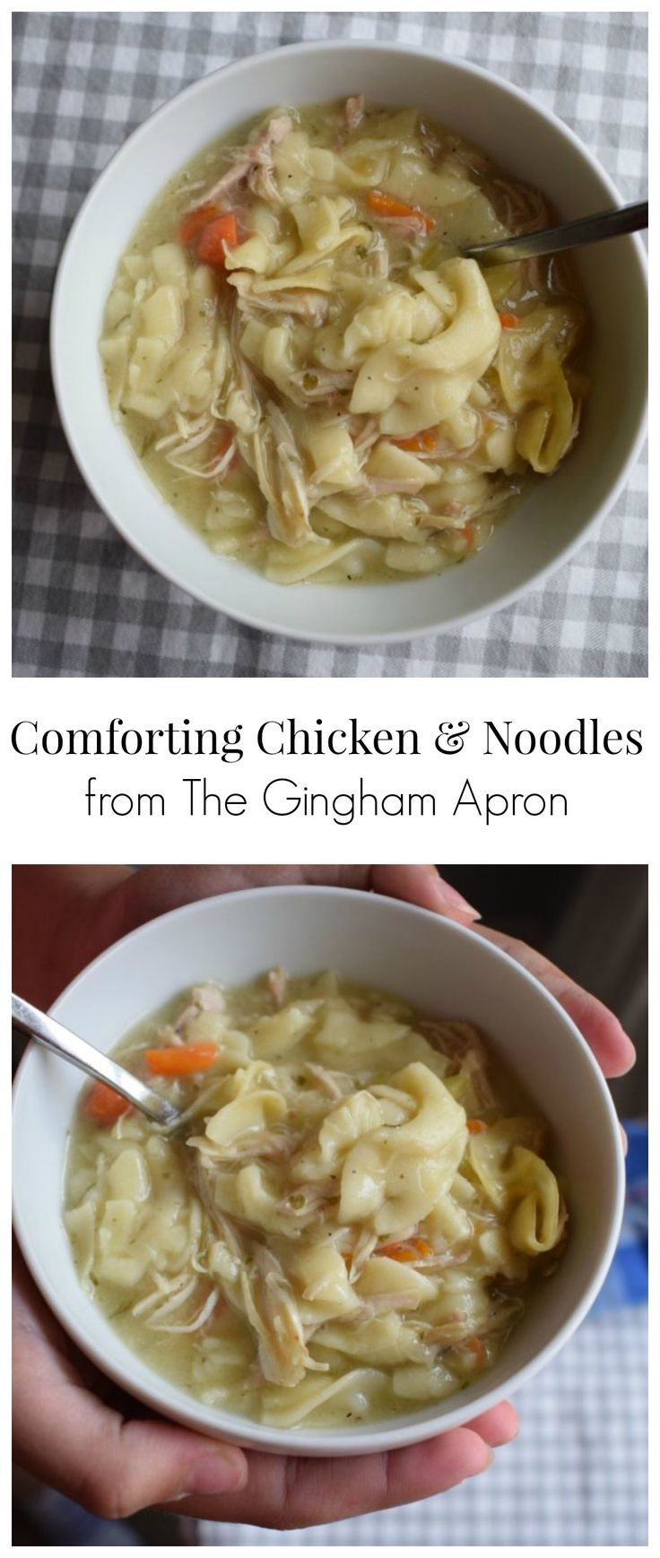 Comforting Chicken and Noodles- with chicken, noodles, chicken, and celery... and just the right flavoring to make this the ultimate comfort food. Perfect for when you are feeling a little under the weather.