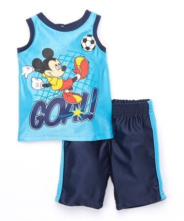 7.29 Love this Blue Mickey 'Goal!' Tank & Shorts - Infant on #zulily! #zulilyfinds