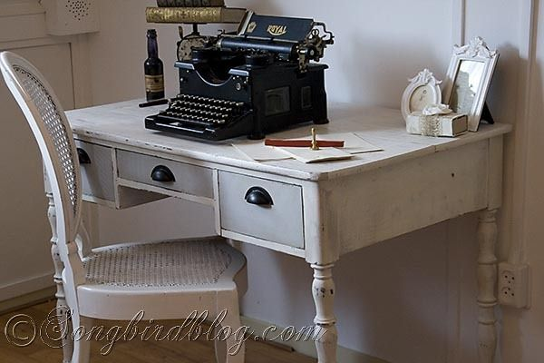 Old desk makeover with chalk paint in two colors.  I have the perfect desk to do this to!
