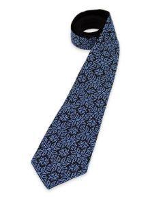 Чорна краватка з букованським орнаментом синього кольору