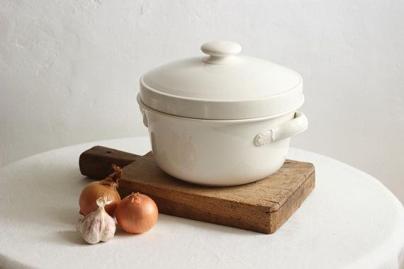 French Vintage Large White Ironstone Tureen/Lidded Serving
