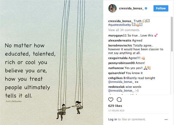 O post compartilhado pela atriz Cressida Bonas, ex-namorada do Príncipe Harry (Foto: Instagram)