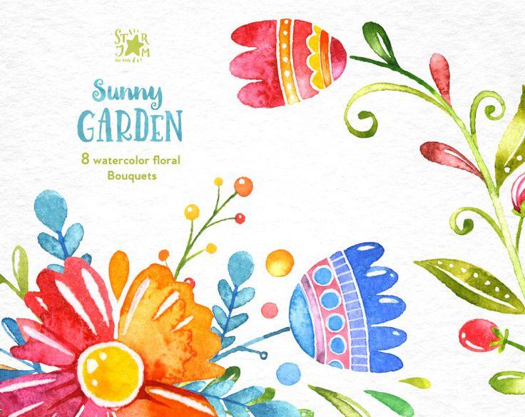 Giardino soleggiato. Mazzi acquerello clipart floreale