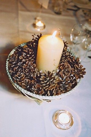 Pine Cone and Candle #Winter #Wedding #Centerpiece: