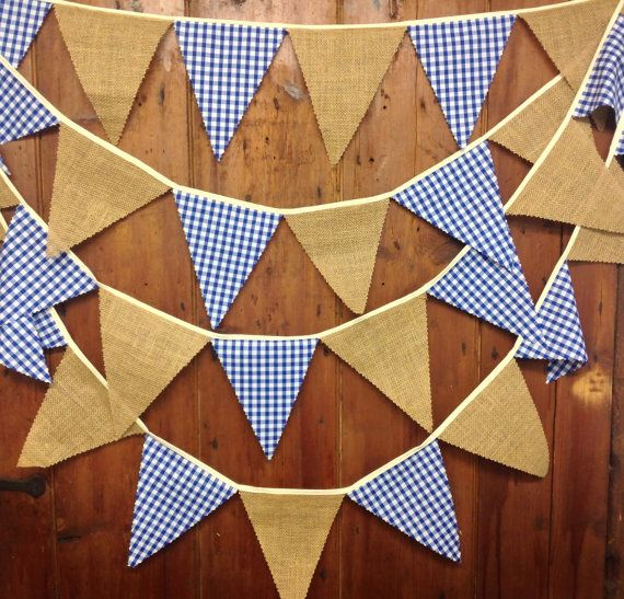 Burlap hessian blue gingham bunting 29 flags by Spoonangels, £12.97