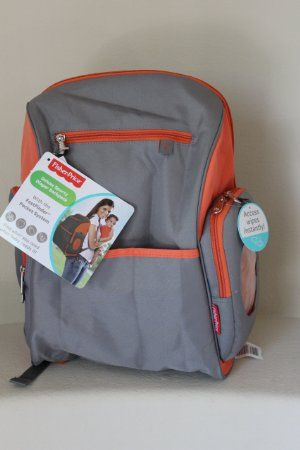 fisher price deluxe sporty diaper backpack gray with orange trim wish list. Black Bedroom Furniture Sets. Home Design Ideas