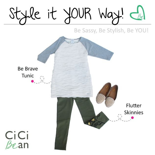 Be Brave Tunic & Flutter Skinnies | CiCi Bean - clothing for tween girls. | Contact your local Play Stylist or shop online at www.peekaboobeans.com | #cicibeanstyle