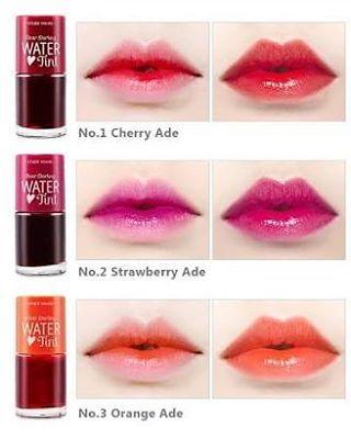 [ETUDE HOUSE]  Dear Darling Water Tint . Rp 55.000,- .  Lip tint bertekstur cair yang cepat meresap pada bibir, memberikan efek warna yang tahan lama dan tidak lengket. Diperkaya dengan vitamin dan pelembab. 3 warna pilihan : 1. Cherry ade 2. Strawberry ade 3. Orange ade