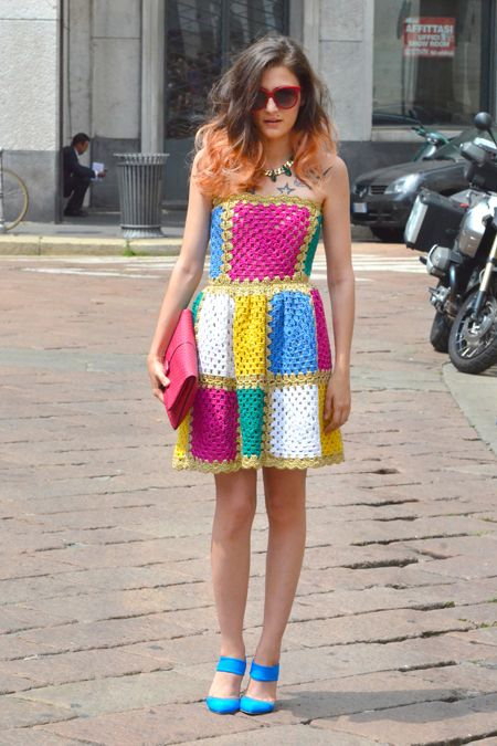 """eleonora,-27-shop-owner-MILAN-FW-june_july-2012_PhotoGianlucaSenese"" (The top is either 3 granny squares with lacing at the back, or 4 granny squares plus ""negative ease"" to keep the top up, with a skirt 8 squares wide gathered onto the bodice.)"