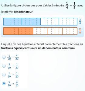L'activité Additionner des fractions avec un support concret fournit aux élèves de nombreux supports visuels qui les aideront à explorer l'addition de fractions sous tous ses aspects.