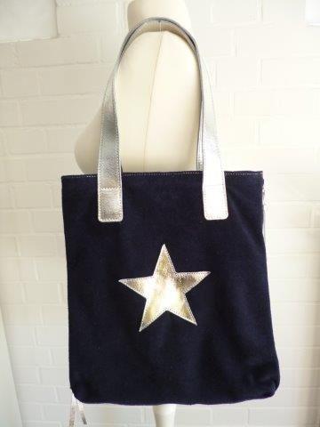 Tasche Schultertasche echtes Leder Made in Italy dunkelblau/ silber Stern