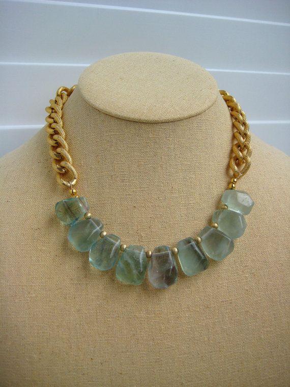 Green Fluorite and Gold Statement Necklace by BeadBashStudio