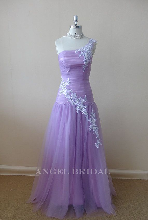 One shoulder Lace Light lilac prom dress, short prom dress, homecoming dresses, party dresses, bridesmaid gowns