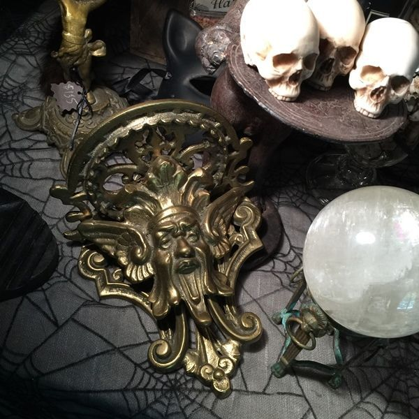 Antique Devil Satyr Gargoyle Bacchus Grotesque Bronze Wall Bracket Shelf