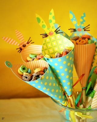 love these ribbon wrapped cones