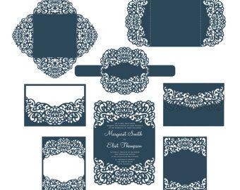Tarjeta de plantillas de invitación de boda del corte del Laser Set / sobres / vientre banda / RSVP / cuatro doble tarjeta. Archivos de la corte de SVG, Silhouette Cameo, Cricut