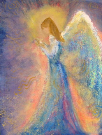 "Healing Energy Angel Original Acrylic Painting 9"" x12"" canvas panel"