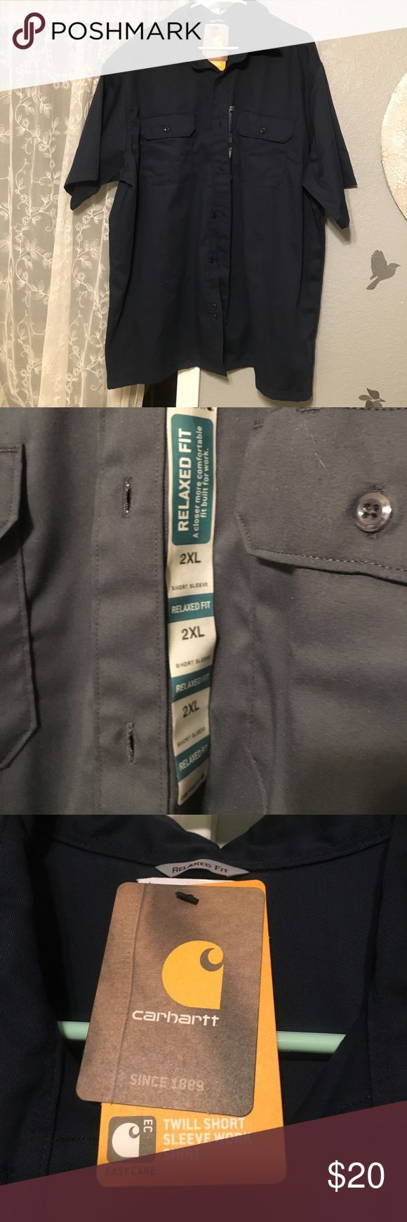 💪🏽Carhart Twill Work Shirt BNWT! Men's 2XL Navy Blue Work Shirt. Relaxed fit. Twill. Husband bought wrong size but never returned it...😏 Carhartt Shirts Casual Button Down Shirts