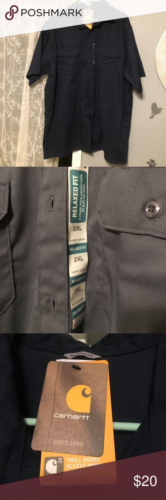 💪🏽Carhart Twill Work Shirt BNWT! Men's 2XL Navy Blue Work Shirt. Relaxed fit. Twill. Husband bought wrong size but never returned it...😏 Carhartt Shirts Casual Button Down Shirts