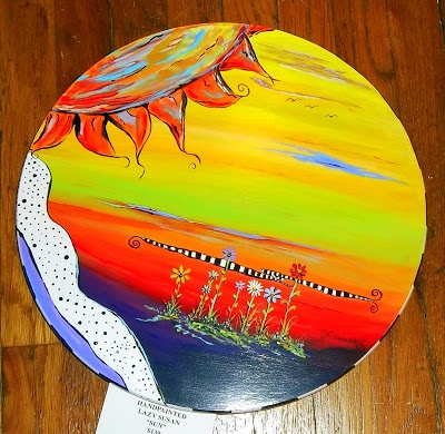 Hand painted Lazy Susan. Carolyn's Funky Furniture