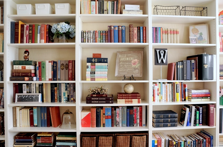 Ikea Billy bookcases backed with burlap