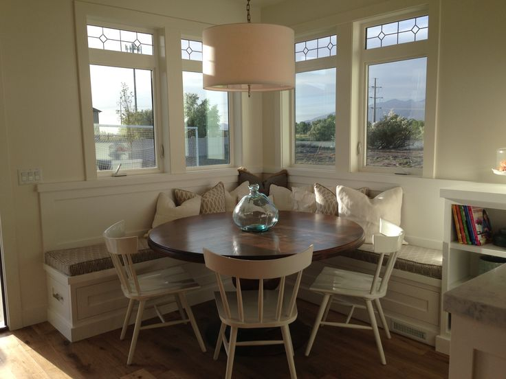 Breakfast nook square booth round table new home pinterest shaker style breakfast and style - Kitchen table nooks ...