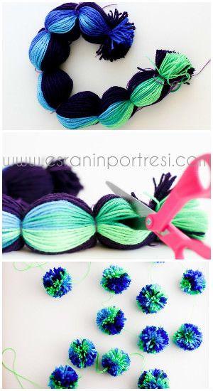 Ponpon nasıl yapılır? Kartondan ponpon yapımı, elde ponpon yapımı, çatalla ponpon yapımı ve tek seferde çoklu ponpon yapımı... İşte, evde kolay ponpon yapımı yöntemleri  http://www.esraninportresi.com/kendin-yap-2/kolay-ponpon-yapimi/