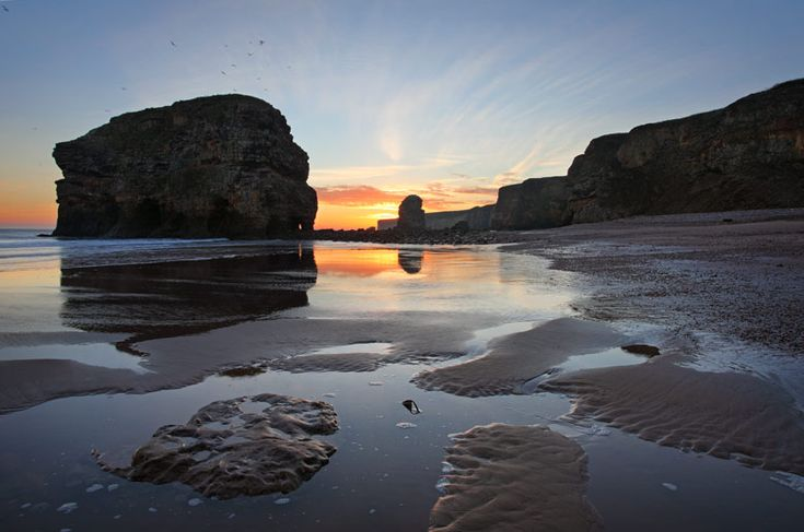 Low angled shot of Marsden Rock