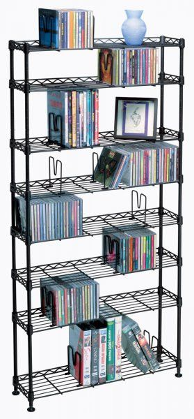 "Maxsteel 440 CD - 228 DVD / BluRay / Games 8- Tier Media Rack (Black) (48.75""H x 26.13""W x 8.13""D)"