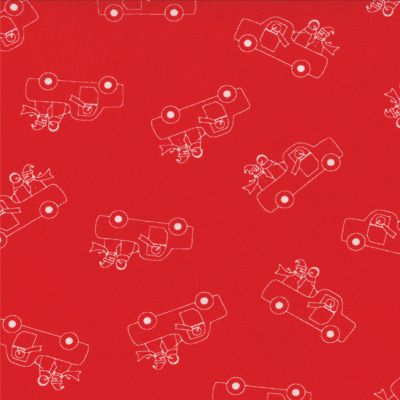Winter Wonderland - Truckin in Redwork (2872 18) // Juberry Fabrics