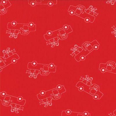 Winter Wonderland - Truckin in Redwork (2872 18) // Juberry Fabrics