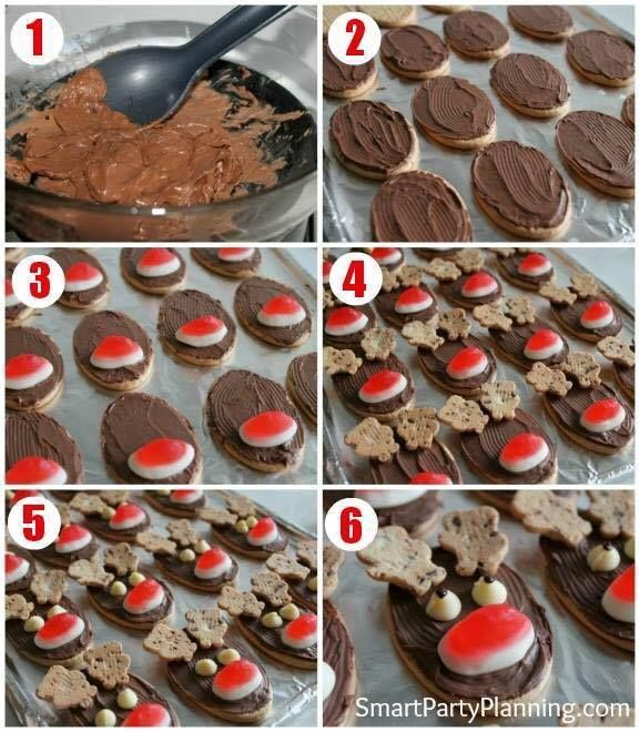 To Make - Milk arrowroot biscuits Chocolate icing or melted chocolate your choice Choc Chip Tiny Teddies - antlers White choc chip - eyes Raspberry cream or raspberry lollies for Rudolph's nose.