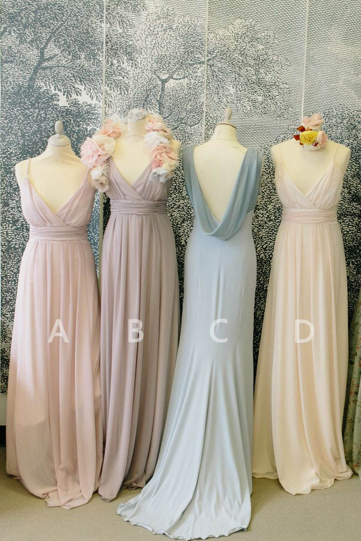 long v-neck spaghetti straps ruched chiffon bridesmaid dresses with cowl back