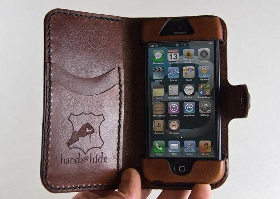 Leather iPhone 5 Wallet / Leather iPhone 4 Wallet / par HANDandHIDE