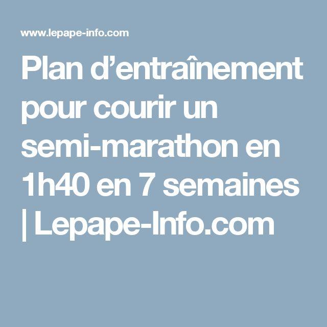 Plan d'entraînement pour courir un semi-marathon en 1h40 en 7 semaines | Lepape-Info.com
