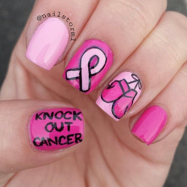 knock out cancer-breast cancer nail art #BreastCancerNailDesigns #NailDesigns #nailart