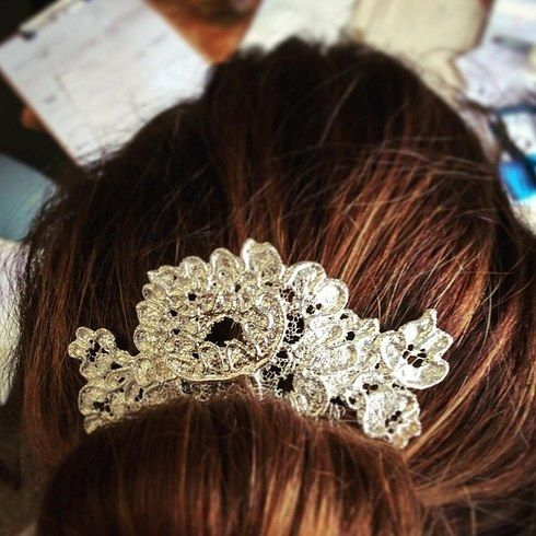hair comb from vintage lace fragment