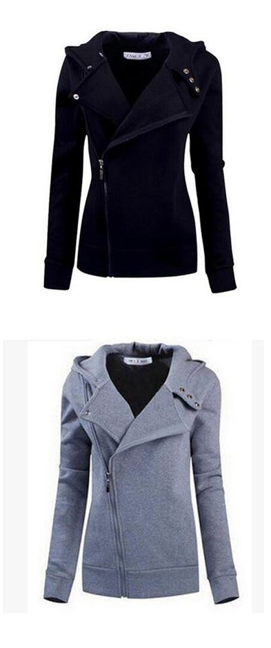 Women's Casual/Daily Simple Hoodie Jacket Solid Inelastic Cotton Long Sleeve Fall