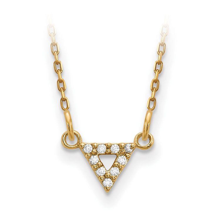 14k A Quality Diamond 6mm Triangle Necklace XP5010A