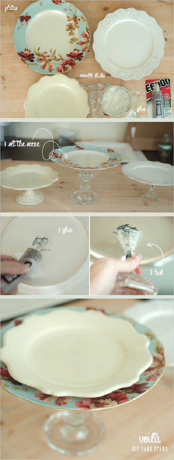 Simple and quick cake stand. If you find the perfect plates already.