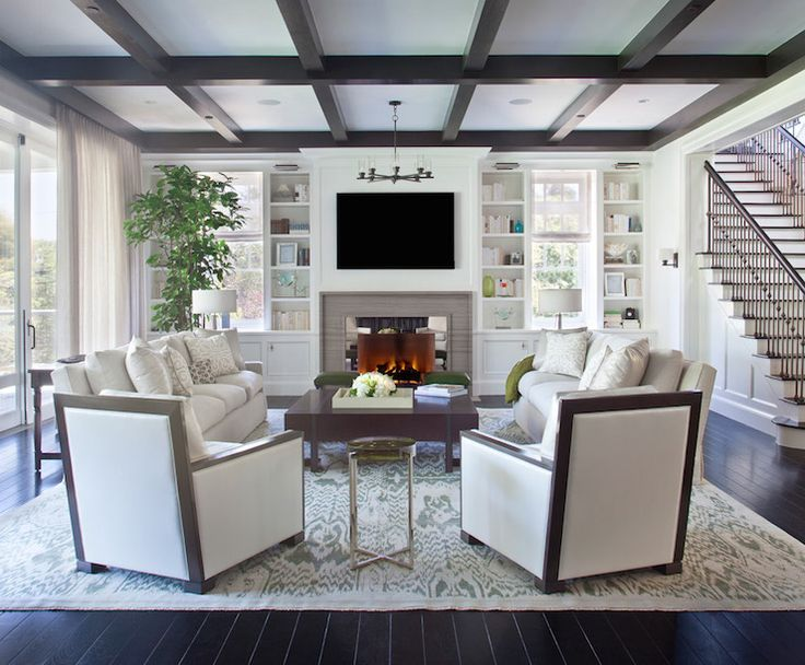 Dark Brown Coffered Ceiling Transitional Living Room Rt