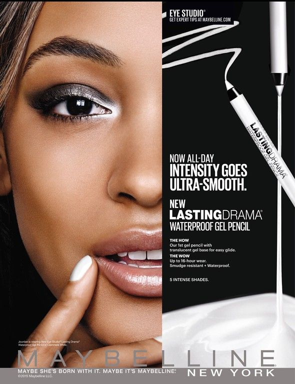 JOURDAN DUNN |  MAYBELLINE NEW YORK  COSMETIC ADVERTISEMENT PHOTOGRAPHED BY KENNETH WILLARDT