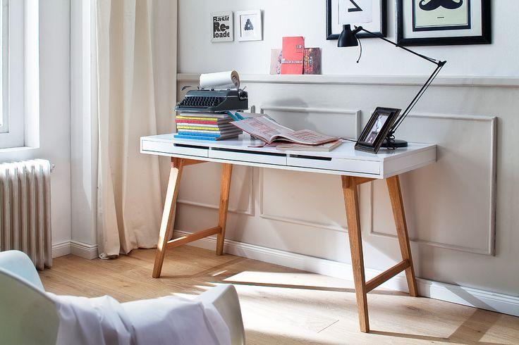 Schreibtisch Anneke S, PC-Tisch, Computerschreibtisch weiss, Schreibtisch schnelle Lieferung