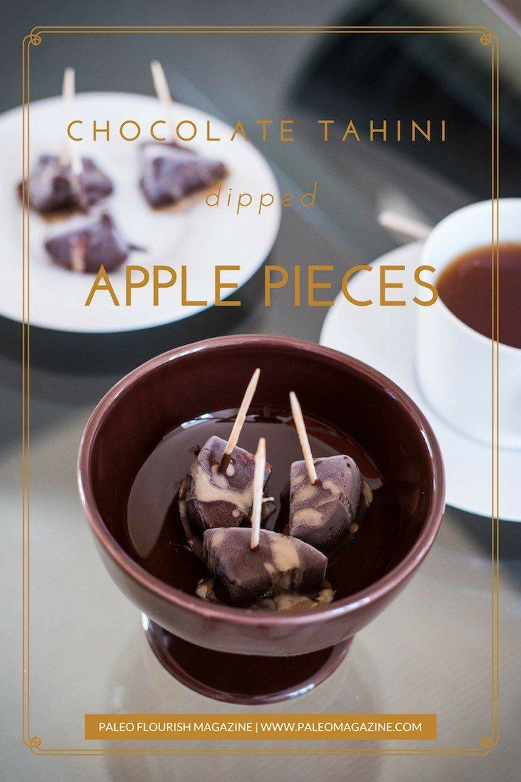 Get this delicious Paleo dessert recipe here - the chocolate and the tahini paste produces a fantastic combination of flavors with the apple pieces.