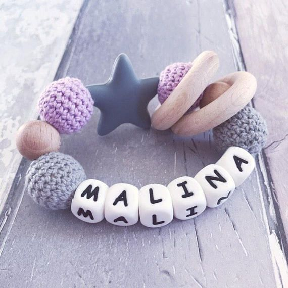 Infant Baby Teether personalised Teething toy baby shower gift keepsake
