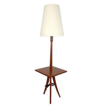 teak floor lamp with built in table danish modern lamp teak side table. Black Bedroom Furniture Sets. Home Design Ideas