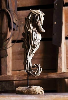 Driftwood Seahorse Sculpture ~ I adore this piece. It is way beyond my skill level.  It is a 20 ~ I am a 1.5. This piece is charming in so many ways